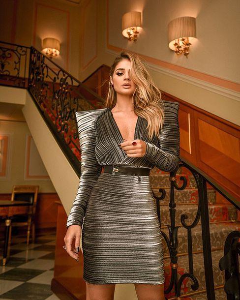 dress stripes plunge neckline mugler belted thassia naves thierry mugler
