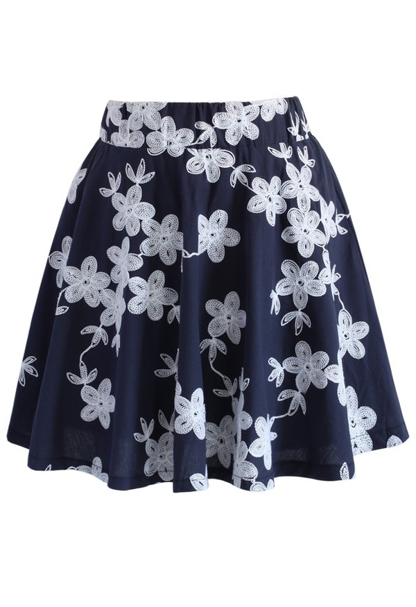 skirt chiciwish flower embroidered skater skirt navy