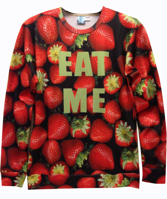 Red EAT ME Strawberries Print Unisex Sweatshirt - Sheinside.com