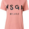Msgm - logo print t-shirt - women - cotton - l, pink/purple, cotton