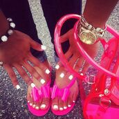 bag,pink,see through,summer shoes,jewels,plastic,neon