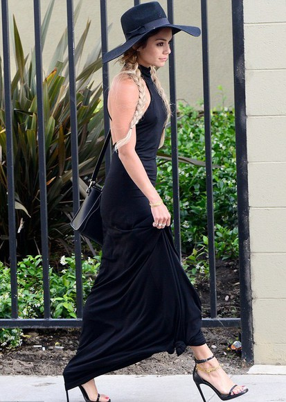 dress braid hat vanessa hudgens shoes bag high heels classy