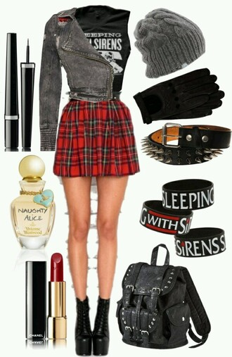 skirt rock punk rock skirt red plaid skirt shortskirt pattern grunge jewels bag