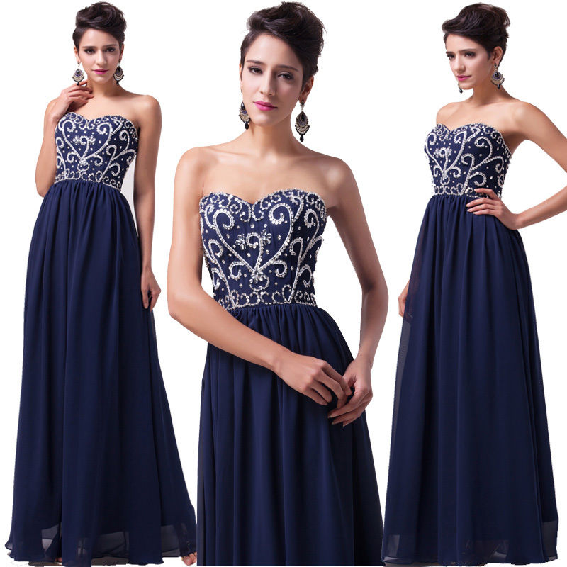 8efac9cfb581f Long Navy Blue Evening Gown Bridesmaid Dresses Prom Dress ...