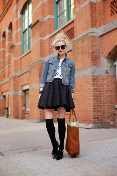 bag jacket shoes atlantic pacific t-shirt skirt sunglasses denim jacket socks