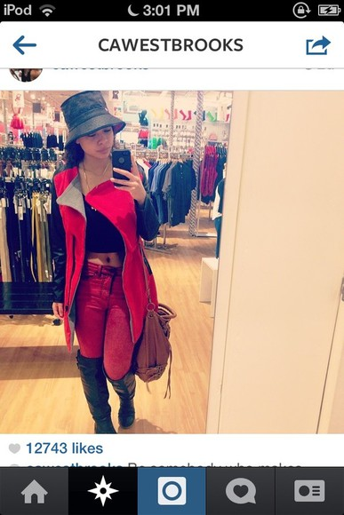hat jacket red pants red jeans red jeans india and crystal westbrooks crystal westbrooks