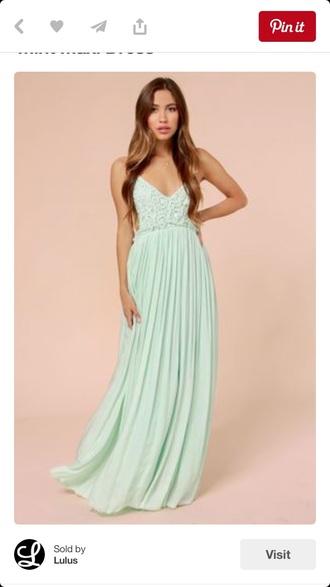 dress mint dress crocheted dress chiffon dress maxi dress backless dress
