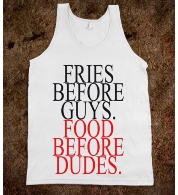 tank top food guys red sayings
