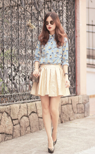 mellow mayo sunglasses shirt bag skirt shoes hat jewels t-shirt jeans