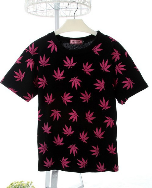 2014 Summer Harajuku Leaf street skateboard tops tees women and men O Neck short sleeve t shirt 6 Colors S,M,L free shipping-inT-Shirts from Apparel & Accessories on Aliexpress.com