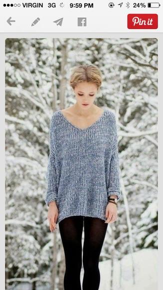 oversized sweater warm winter sweater blue sweater comfy winter fashion