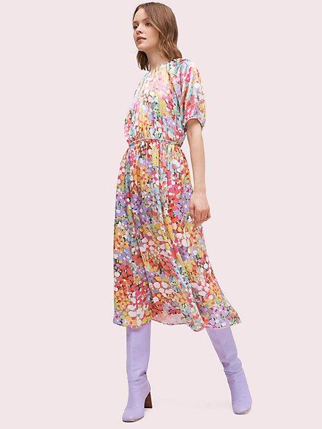 floral dots silk dress