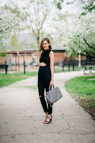 see anna jane blogger jeans top shoes bag black top blac jeans ripped jeans grey bag lace up heels maternity