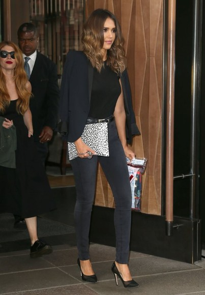 jessica alba shoes bag jacket pants