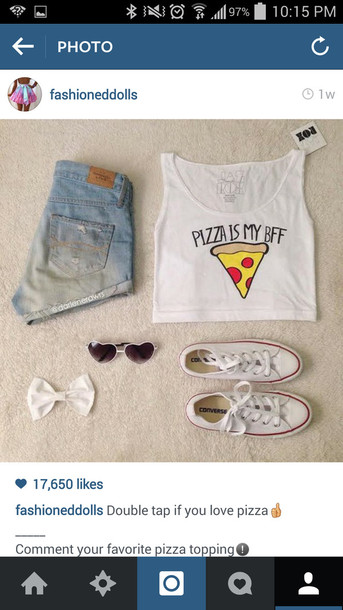 t-shirt shirt pizza crop tops white t-shirt shorts converse