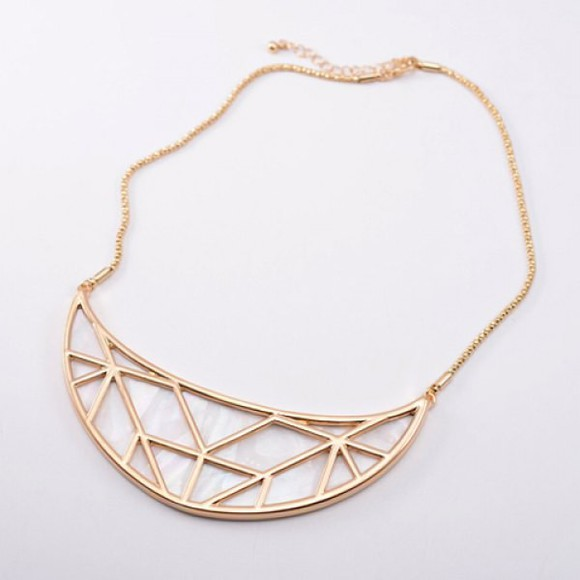geometric jewels gold necklace cut out design style chic blogger statement necklace necklace triangle