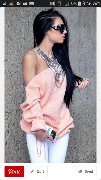 baby pink off the shoulder sweater