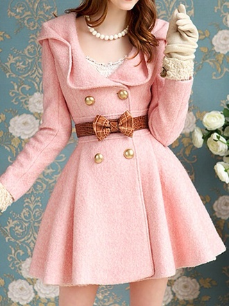 coat pink pink trench coat lace bows jewels cute girly pink coat peacoat dress