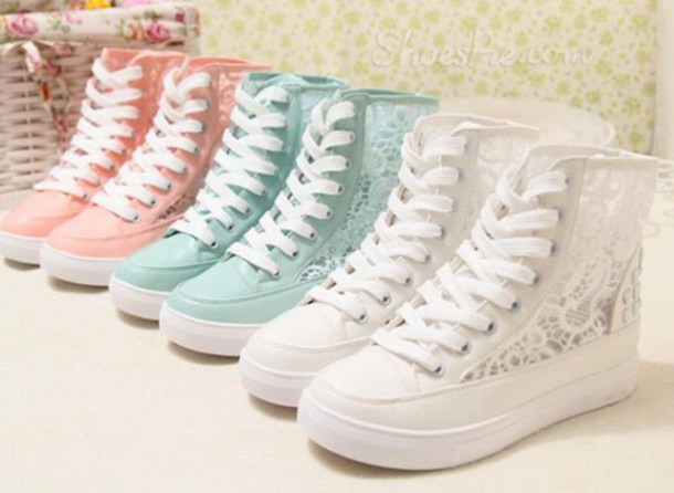 e24db1b5e0045f shoes floral lace crochet sneakers heels platform shoes white blue pink  summer tumblr vogue chanel cute