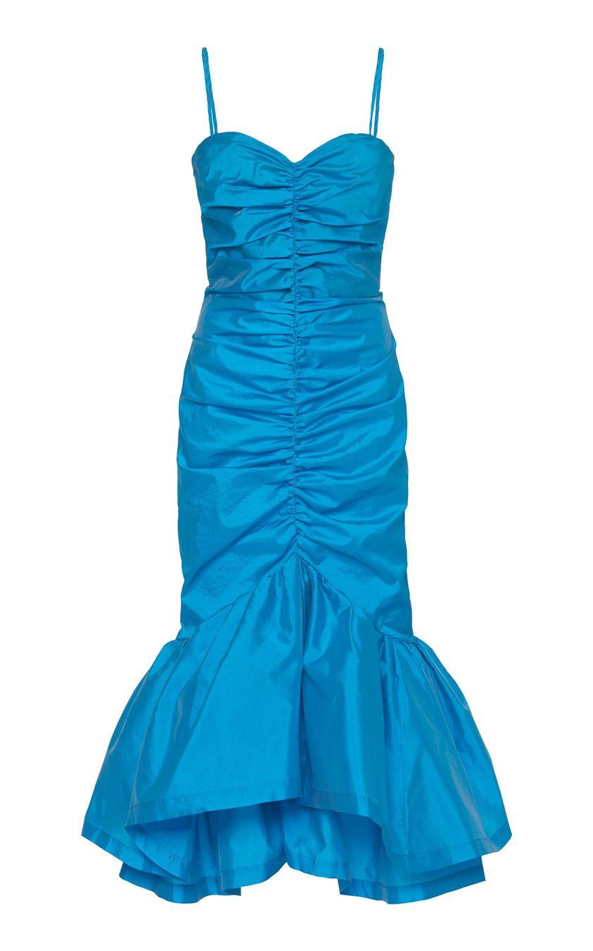Attico Ruched Shell Midi Dress Size: 36