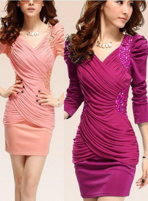New Women's Mesh Stitch Bodycon Puff Sleeve Plus Size Sequin Cocktail Prom Dress | eBay