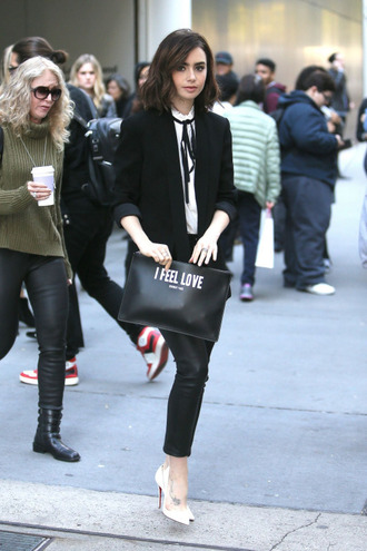 blouse pants lily collins fall outfits pumps