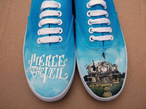 pierce the veil blue shoes band merch shoes ptv punk band merch rock all time low sleeping with sirens