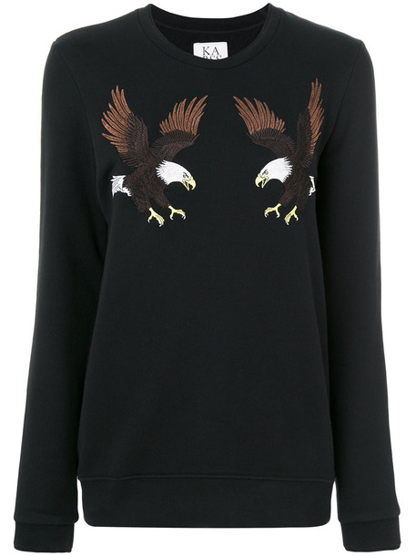 Zoe Karssen - eagle patches longsleeved T-shirt - women - Cotton/Polyester - S, Black, Cotton/Polyester