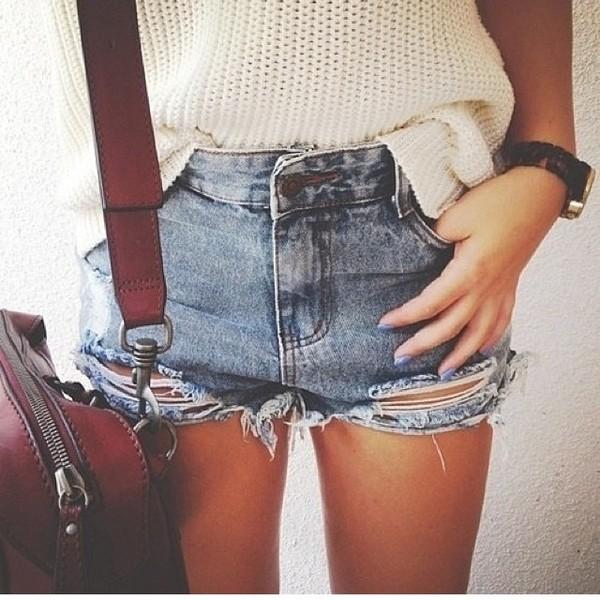 shorts bag denim shorts grunge vintage 90s style torn ripped denim shorts cut off shorts jeans sweater denim white brown bag