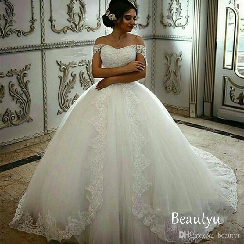38a80a692100 Vintage Off Shoulder Wedding Dresses 2017 Appliques Lace Up Women Long  Puffy Ball Gown Plus Size White ...