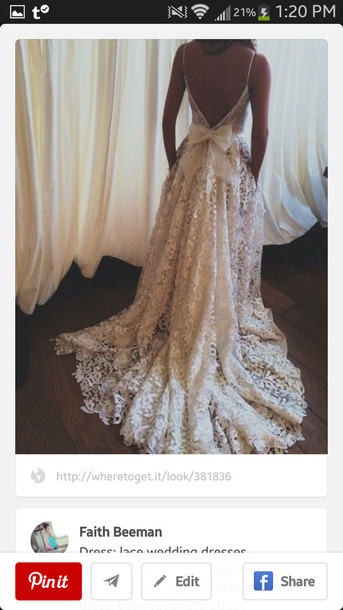 dress wedding dress ivory wedding dresses white dress prom dress lace dress champagne lace floral bow open back white lace backless wedding gown backless white lace dress