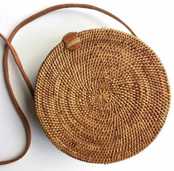 acheter en ligne 9754c a8d44 Sac panier en rotin rond, Bohême ronde sac bandoulière, sac à bandoulière  rond Ata tissé
