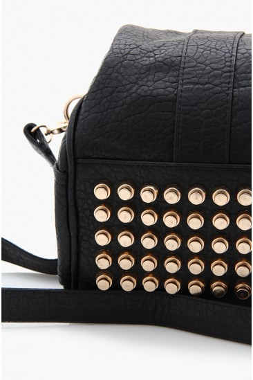 OMG Rocco Stud-Bottom Satchel Bag - Black - Gold