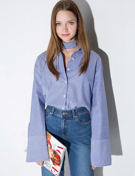 Shirt Blue Stripe Oversize Sleeve Shirt Oversized Shirt