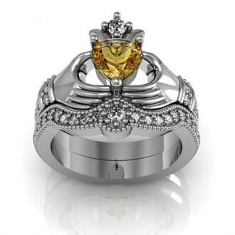 jewels heart shaped orange sapphire ring set ring set bridal ring set wedding ring set claddagh ring silver claddagh ring set heart citrine claddagh ring / engagement ring set - 18k platinum plated sterling silver evolees.com