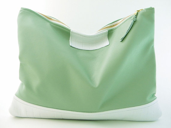 CLEARANCE  Minty Leather Statement Clutch by lovecortnie on Etsy