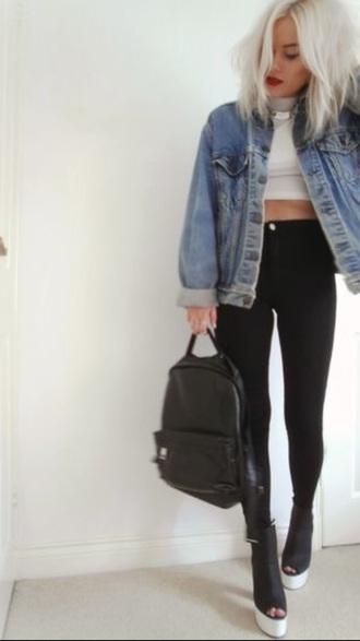 jacket denim jacket tank top jeans