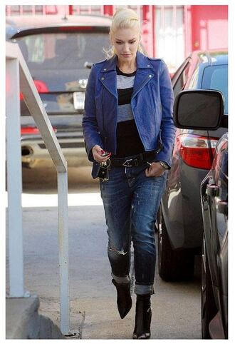 sweater jacket gwen stefani denim jeans