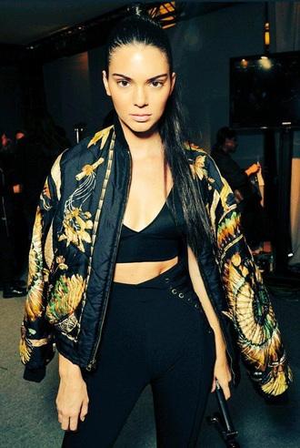 jacket bomber jacket kendall jenner gold crop tops cropped fashion printed jacket