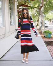 dress,sweater dress,multicolor,stripes,flats,bag,sunglasses