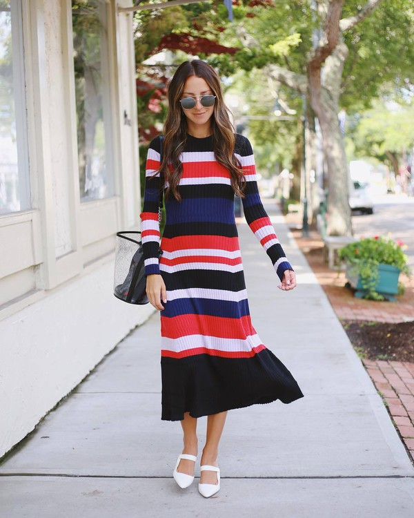 dress sweater dress multicolor stripes flats bag sunglasses