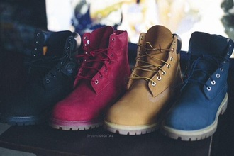 shoes timberlands red navy black yellow boots