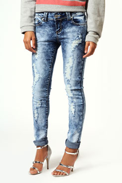 Monica Acid Wash Ripped Skinny Jeans at boohoo.com