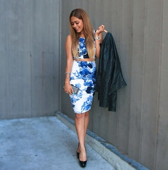 top angl skirt blue floral blazer michael kors michael kors watch black blazer dark blue ombre ombre hair beautiful gorgeous fashion instagram amazing two-piece pencil skirt chic jewels jewelry hand jewelry