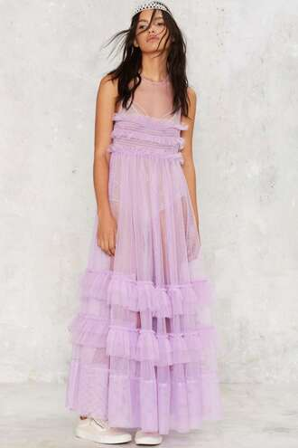 dress party dress wedding clothes sheer purple dress ruffle