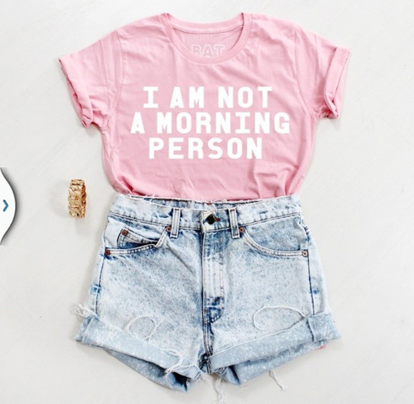 spring t-shirt morning person top shirt not morning person👌 shirt morning pink