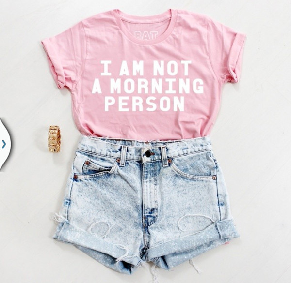 pink top quote on it denim shorts acid wash