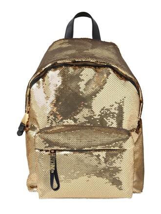 backpack satin gold bag