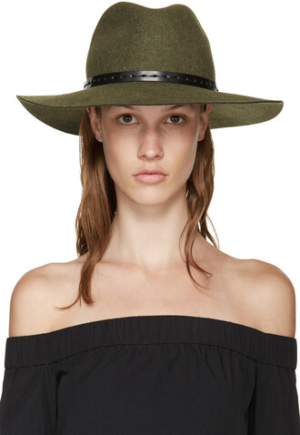 fedora wool green hat