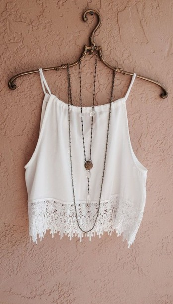 top crotchet tops boho clothes crop tops summer top style strapless top blouse shirt white hipster white blouse lace hemline halter neck tank top white tank top